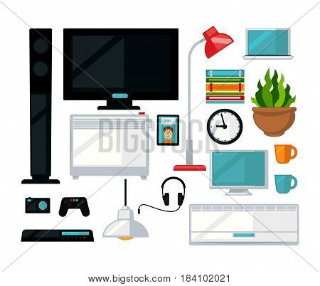 Home digital appliances and living room interior. Vector flat icons of tv or computer, game station and gamepad, wall clock and air conditioner, music speaker with headphones and plant, books and lamp