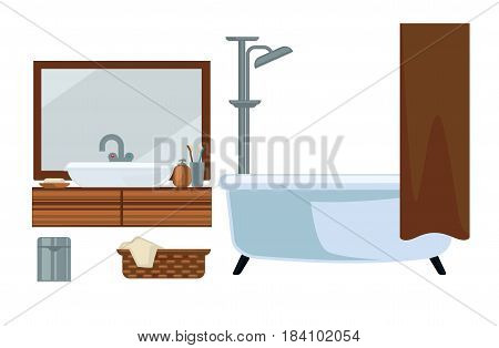 Bathroom room interior and bathing appliances or accessories. Vector flat icons set of bathtub and sink, wall mirror, towels and garbage bin with shower curtain, toothbrush and soap bottles