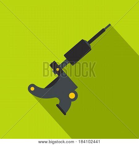 Coil tattoo machine icon. Flat illustration of coil tattoo machine vector icon for web on lime background