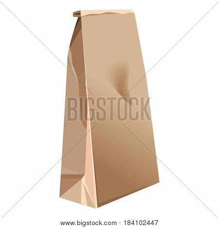 Paper bag 3D realistic mock-up model with different bends. Brown cardboard or carton product package with rolled top. Vector isolated icon on white background