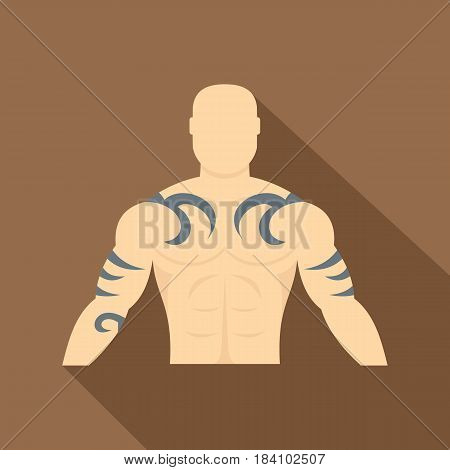 Muscular man with tattoo icon. Flat illustration of muscular man with tattoo vector icon for web on coffee background