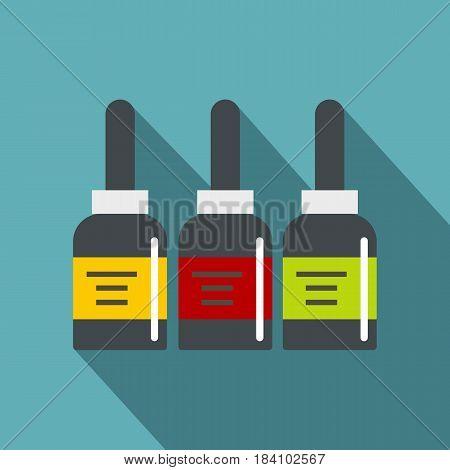 Three tattoo ink bottles icon. Flat illustration of three tattoo ink bottles vector icon for web on baby blue background