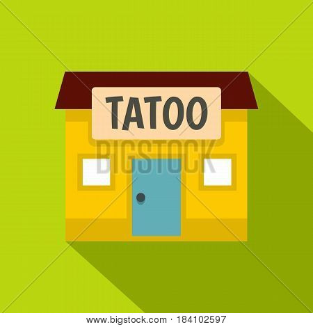 Tattoo salon building icon. Flat illustration of tattoo salon building vector icon for web on lime background