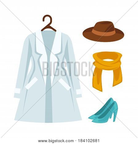 Wardrobe outerwear clothes in dressing room. Raincoat mantle or dress on hanger, woman or man hat or scarf and high heels shoes. Vector isolated flat icons set on white background