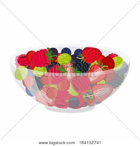 Fresh berries in cup. Raspberry, blackberry, gooseberry, red currant, black currant, cherry and blueberry. Made in cartoon flat style.