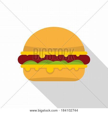 Tasty hamburger icon. Flat illustration of tasty hamburger vector icon for web on white background