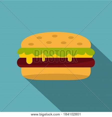 Classic cheeseburger with lettuce icon. Flat illustration of classic cheeseburger with lettuce vector icon for web on baby blue background