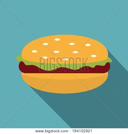 Burger with lettuce, meat patty and bun with sesame seeds icon. Flat illustration of burger with lettuce, meat patty and bun with sesame seeds vector icon for web on baby blue background