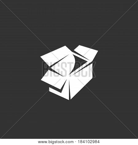 Box vector logo isolated on a black background. Box icon silhouette design template. Simple symbol concept in flat style. Abstract sign pictogram for web mobile and infographics