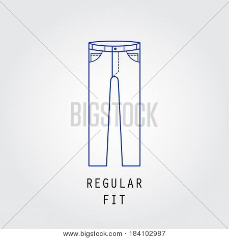Denim fit icon. Type of trousers and jeans Regular fit. Line vector icon silhouette.