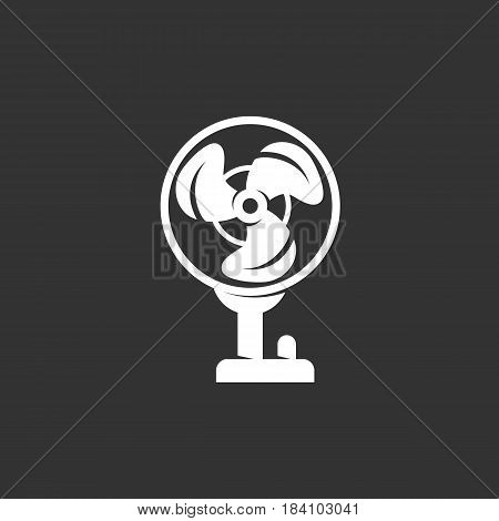 Fan vector logo isolated on a black background. Fan icon silhouette design template. Simple symbol concept in flat style. Abstract sign pictogram for web mobile and infographics