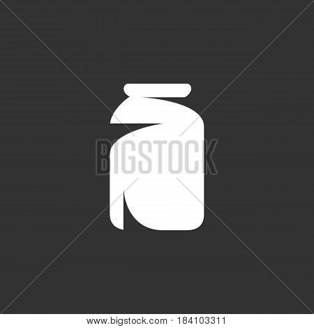 Jar icon in flat style isolated on black background. Jar logo silhouette. Abstract sign symbol pictogram. Vector illustration