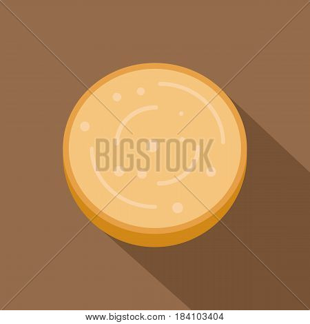 Slice of sausage icon. Flat illustration of slice of sausage vector icon for web on coffee background