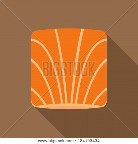 Piece of salmon icon. Flat illustration of piece of salmon vector icon for web on coffee background