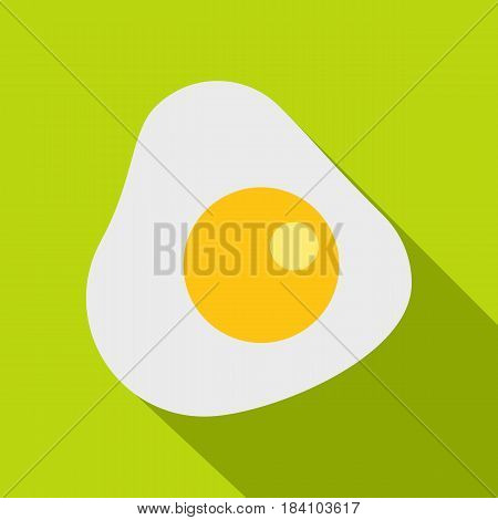 Fried egg icon. Flat illustration of fried egg vector icon for web on lime background