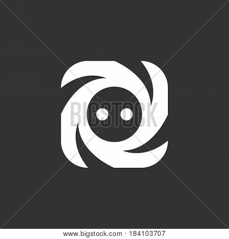 Socket vector logo isolated on a black background. Icon silhouette design template. Simple symbol concept in flat style. Abstract sign pictogram for web mobile and infographics