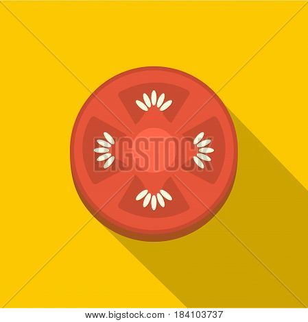 Slice of ripe tomato icon. Flat illustration of slice of ripe tomato vector icon for web on yellow background