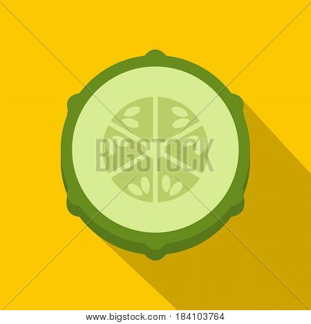 Slice of fresh cucumber icon. Flat illustration of slice of fresh cucumber vector icon for web on yellow background