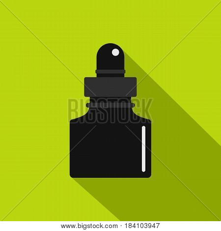Black inkwell icon. Flat illustration of black inkwell vector icon for web on lime background