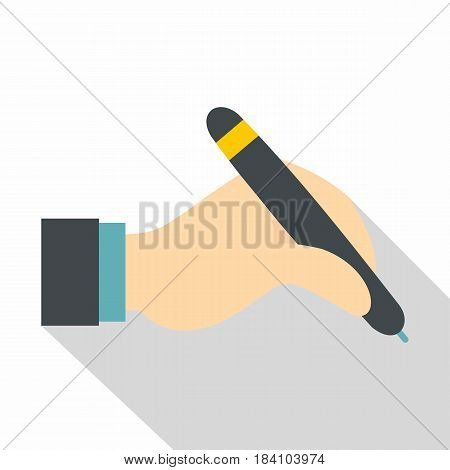 Hand holding black pen icon. Flat illustration of hand holding black pen vector icon for web on white background