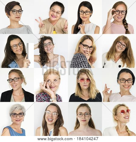 People Set of Diversity Women Wearing Eyeglasses Studio Collage