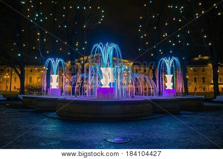 Luminous fountain at the Winter Palace in St. Petersburg.