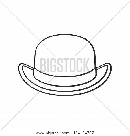 Vector illustration. Hand drawn doodle of retro bowler hat front view. Vintage elegant hat. Cartoon sketch. Decoration for greeting cards posters emblems wallpapers