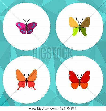 Flat Butterfly Set Of Beauty Fly, Archippus, Danaus Plexippus And Other Vector Objects. Also Includes Butterfly, Monarch, Archippus Elements.