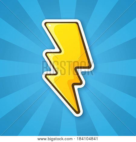 Vector illustration. Electric lightning bolt. Thunderbolt strike symbol. Sticker in cartoon style with contour. Decoration for greeting cards patches prints for clothes badges posters emblems