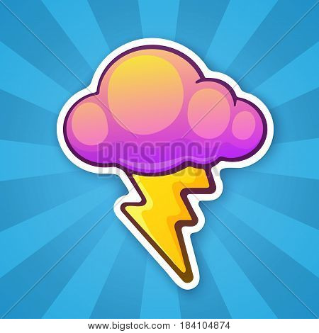 Vector illustration. Electric lightning bolt with cloud. Thunderbolt strike symbol. Sticker in cartoon style with contour. Decoration for greeting cards patches prints for clothes badges posters emblems