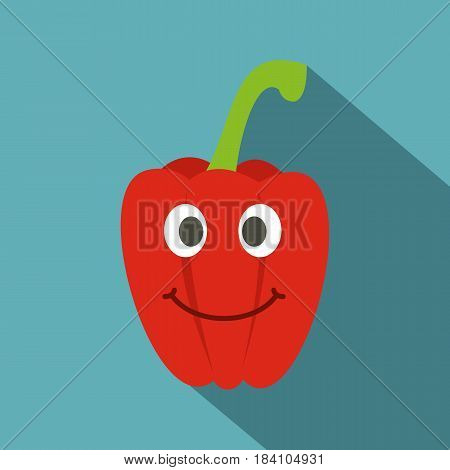 Fresh red smiling sweet pepper icon. Flat illustration of fresh red smiling sweet pepper vector icon for web on baby blue background