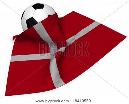 soccerball and flag of denmark - 3d rendering