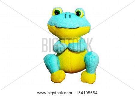 Little Frog Soft Toy On A White Background