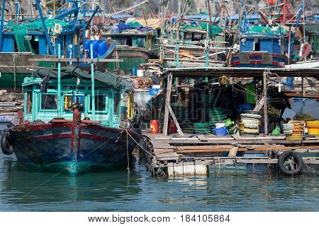 Boats at Halong Bay, Vietnam. Unesco World Heritage Site.