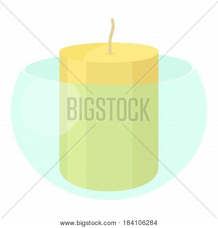 White candle in the glass candlestick icon. Cartoon illustration of white candle in the glass candlestick vector icon for web