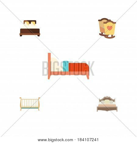 Flat Bedroom Set Of Mattress, Bedroom, Bearings And Other Vector Objects. Also Includes Bed, Bedroom, Cot Elements.