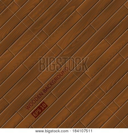Dark Brown Wood texture. Vector wooden planks background.