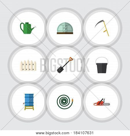 Flat Farm Set Of Hothouse, Container, Spade And Other Vector Objects. Also Includes Container, Bucket, Greenhouse Elements.