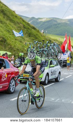 Col de PeyresourdeFrance- July 23 2014: The Belgian cyclist Maarten Wynants (Team Belkin) climbing the road to Col de Peyresourde in Pyrenees Mountains during the stage 17 of Le Tour de France on 23 July 2014.