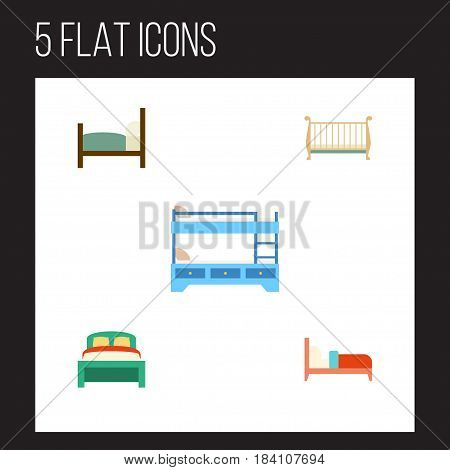 Flat Bedroom Set Of Bearings, Bed, Cot And Other Vector Objects. Also Includes Crib, Mattress, Bearings Elements.