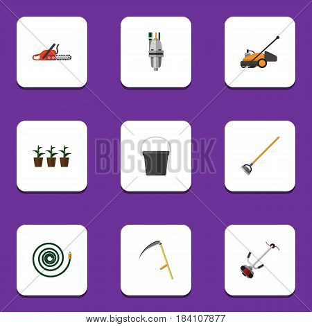 Flat Garden Set Of Grass-Cutter, Hacksaw, Lawn Mower And Other Vector Objects. Also Includes Blade, Pump, Mower Elements.