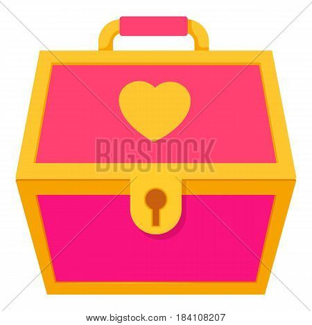 Pink treasure chest for a princess icon. Cartoon illustration of pink treasure chest for a princess vector icon for web