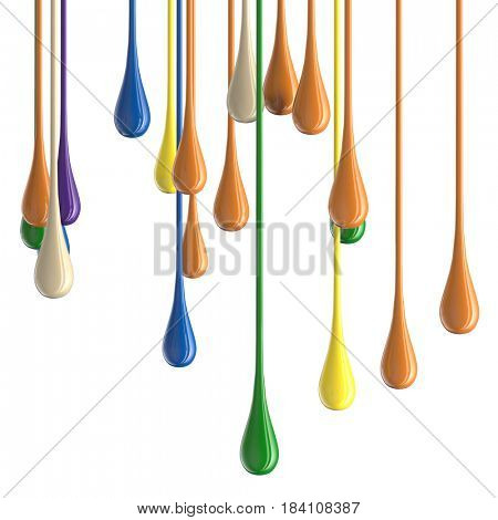 3D multicolor colorful glossy paint drop blobs isolated on white
