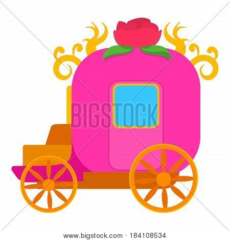 Pink brougham, for little princess icon. Cartoon illustration of pink brougham, for little princess vector icon for web