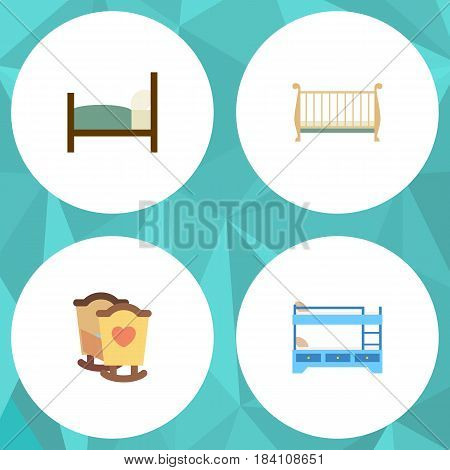Flat Mattress Set Of Crib, Bunk Bed, Bed And Other Vector Objects. Also Includes Mattress, Child, Hostel Elements.