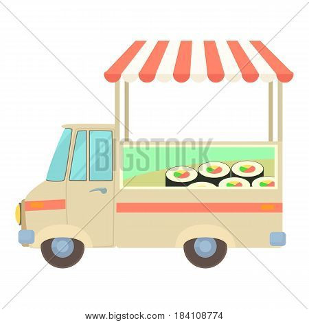 Fast food truck city car with sushi icon. Cartoon illustration of fast food truck city car with sushi vector icon for web