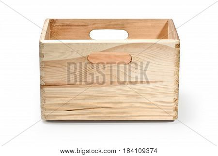 empty wooden crate isolated on white with clipping path