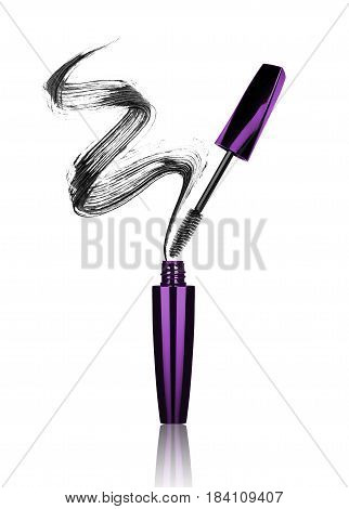 Mascara brush with mascara stroke isolated on white background