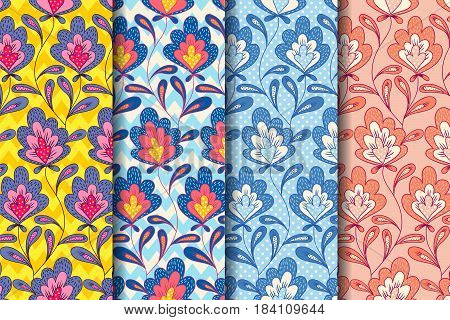 Vector set vintage floral patterns with abstract flowers. Vintage floral pattern.
