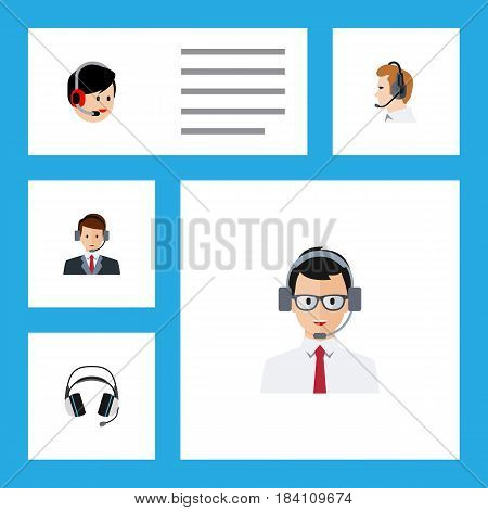 Flat Call Set Of Earphone, Hotline, Operator And Other Vector Objects. Also Includes Human, Support, Hotline Elements.